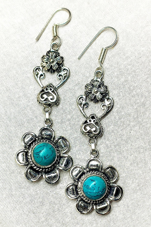 Glam Silver Simulated Earrings With Natural Sky Blue Turquoise Gemstone