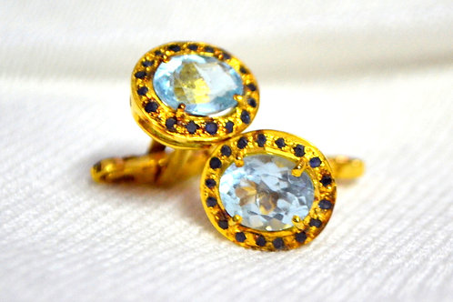 Natural Blue Topaz & Blue Sapphire Gold Plated Cufflink in 925 Sterling Silver