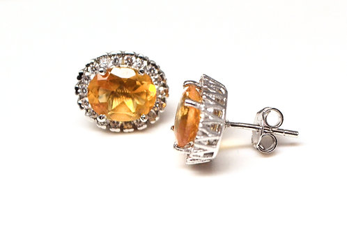 Beautiful Studs with Natural Citrine & Zircon in 925 Sterling Silver