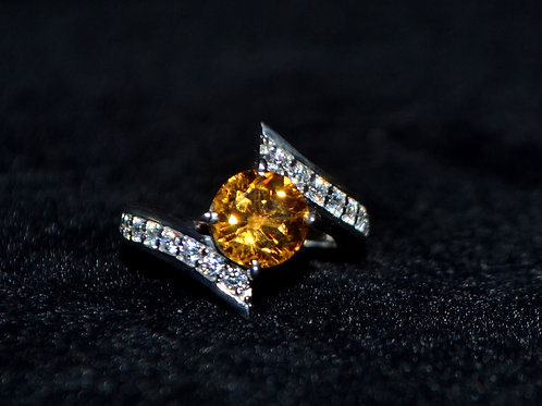 Natural Citrine Solitaire design statement ring for women 925 Sterling Silver