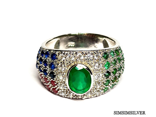 Beautiful Ring with Natural Emerald, Ruby, Blue Sapphire &CZ in Sterling Silver