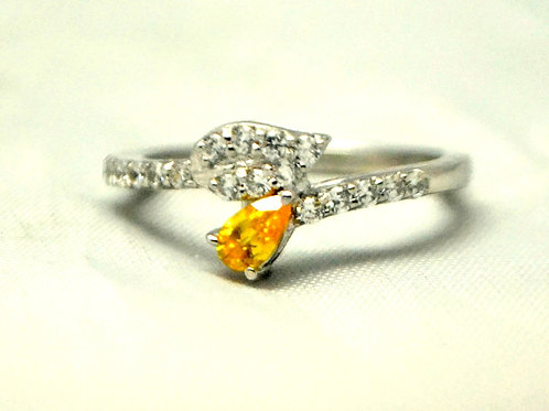 Natural Citrine Leave band design ring for women 925 Sterling Silver