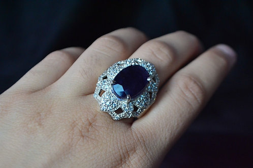 Natural Blue Sapphire Gemstone with Sunflower Design in 925 Sterling Silver ring