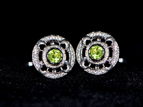 Natural Peridot Cluster cuff link  925 Sterling Silver with american diamond
