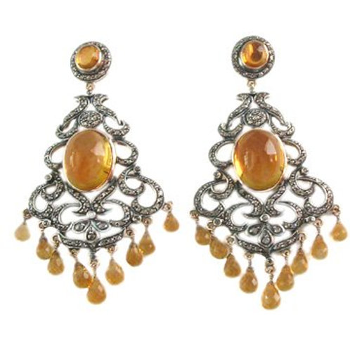 Natural Citrine Cabochon with Diamonds  Handmade Earrings in Silver