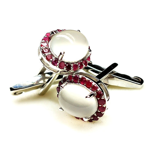 Elegant Cuff-Links with Natural Ruby & Moonstone in 925 Sterling Silver