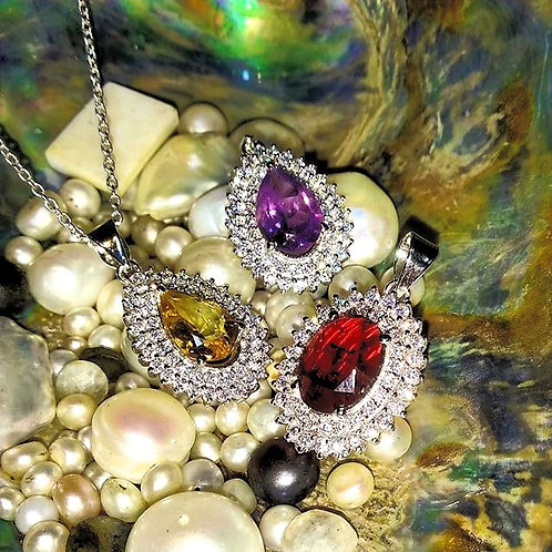 Natural Semi Precious Stones Pendants with Clustered Czs in 925 Sterling Silver