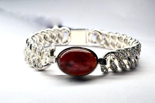 Natural Garnet & Zircon Men's heavy Bracelet in 925 Sterling Silver