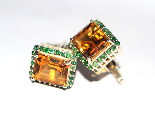 Magnificent Cuff-links with Natural Citrine & Emerald in 925 Sterling Silver