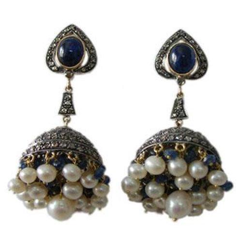 Natural Blue Sapphire, Diamonds & Pearl Handmade Earrings in Silver