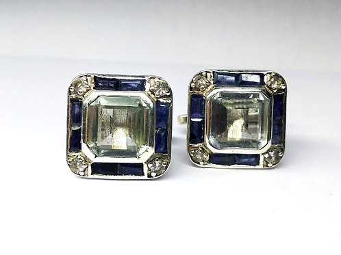 Natural White Topaz & Blue Sapphire Cuff-links in 925 Sterling Silver
