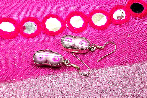 Glam Silver Simulated Earrings With Natural Pink Gemstone
