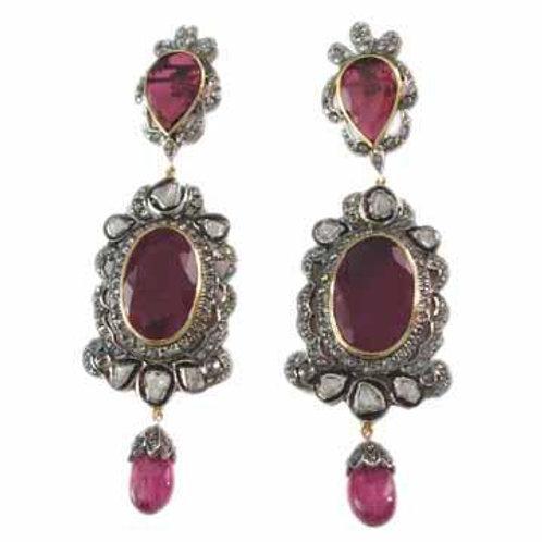 New Natural Ruby, Diamonds & White Topaz Handmade Earrings in Silver