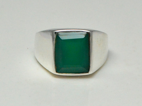 Classy Green Onyx Men's Ring in 925 Sterling Silver