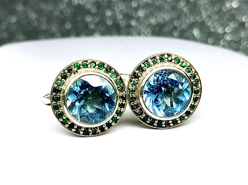 Charming Natural Blue Topaz & Natural Emerald Cufflinks in 925 Sterling Silver
