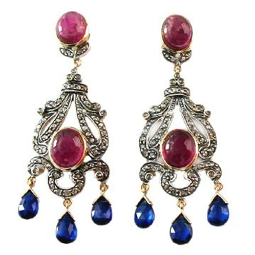 Royal Handmade Earrings with Natural Ruby, Blue sapphire & Diamonds in Silver