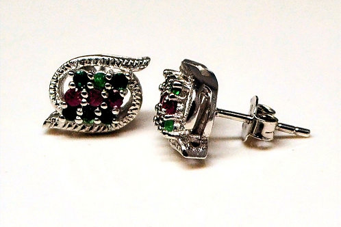 Round Cut Natural Emerald & Natural Ruby Studs in 925 Sterling Silver