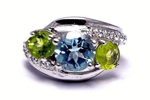 Natural Blue Topaz & Peridot Ring embedded with Zircon in 925 Sterling Silver