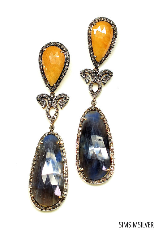 Lovely Victorean Earrings with Natural Sapphires & Diamonds in Sterling Silver