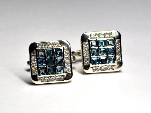 Natural Blue Topaz & Cubic Zircon Cuff-links in 925 Sterling Silver