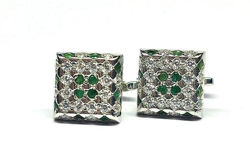 Fine Quality Natural Emeralds & Cubic Zirconia Elegant Cube Cufflinks in 925 Ste