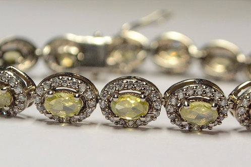 Natural Yellow Sapphire and Cubic Zircon Bracelet in 925 Sterling Silver