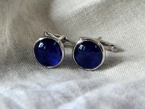 Natural Round Blue Sapphire 12 x 12 mm Gemstone in Cufflink Sterling Silver