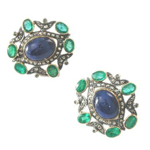 Beautifully Handmade Studs with Natural Blue Sapphire, Emeralds & Diamonds