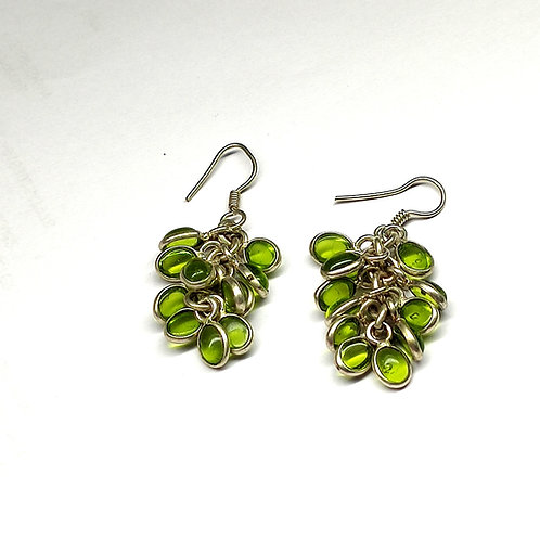 Glam Silver Simulated Earrings With Simulated Gemstone