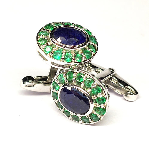Classic Cufflinks with Natural Blue Sapphire & Natural Emeralds in Silver