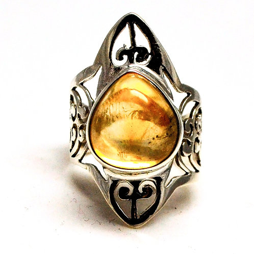 Good Quality Cabochon Citrine Beautiful Ring in 925 Sterling Silver