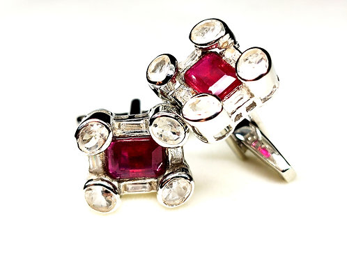Classy Cuff-Links with Natural Ruby & White Topaz in 925 Sterling Silver