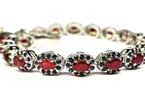 Bracelet with sparkling Natural Ruby & Blue Sapphire in 925 Sterling Silver