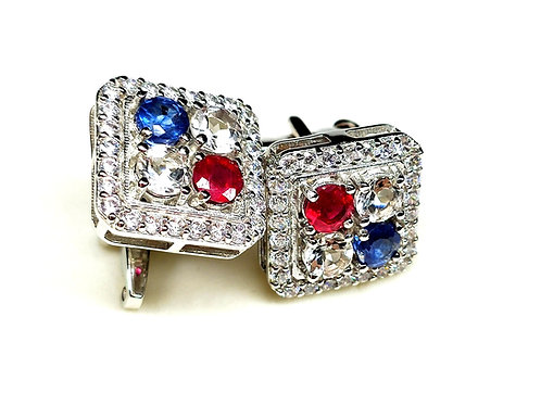 Elegant Cuff-Links with Natural Ruby, Blue Sapphire & CZ in 925 Sterling Silver