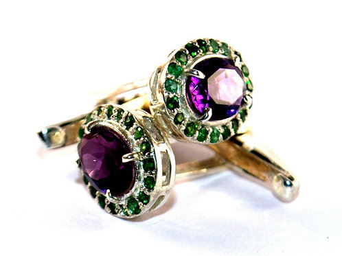 Natural Amethyst & Natural Emerald Cuff-links in 925 Sterling Silver