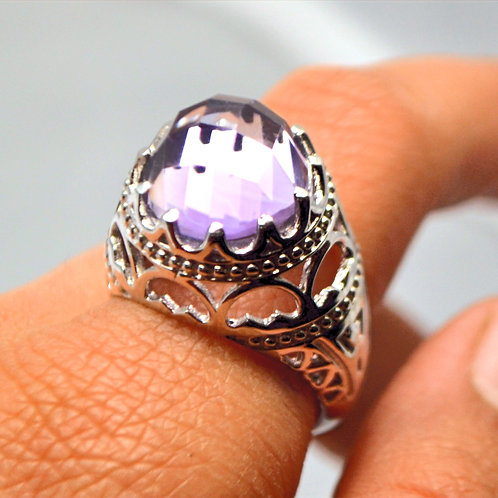 Natural Amethyst Unique Design Ring in 925 Sterling Silver