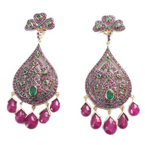 Handmade Earrings with Natural Ruby and Sparkling Natural Emeralds in Silver
