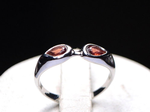 Ethnic Style Natural  Garnet Women's Ring in 925 Sterling Silver