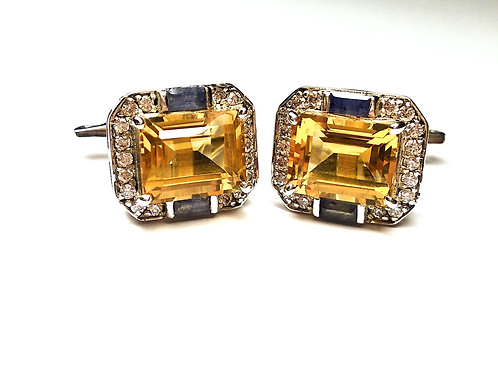 Natural Citrine & Black Onyx with Zircon Cuff-links in 925 Sterling Silver