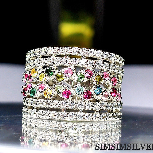 Beautiful Ring with Natural Tourmaline & Cz in 925 Sterling Silver