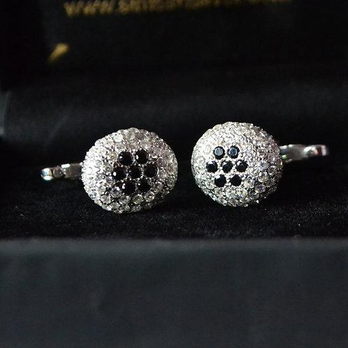 Cluster Black & White American Diamonds 925 Sterling Silver Flower Cufflink