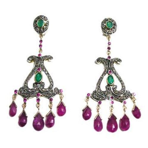 Stunning Natural Ruby, Emerald & Diamond Handmade Earrings in Silver