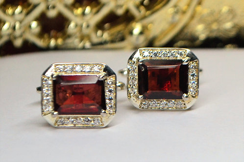 New Fashion  925 Sterling Silver Good Quality Garnet & Zircon Men's Cufflinks
