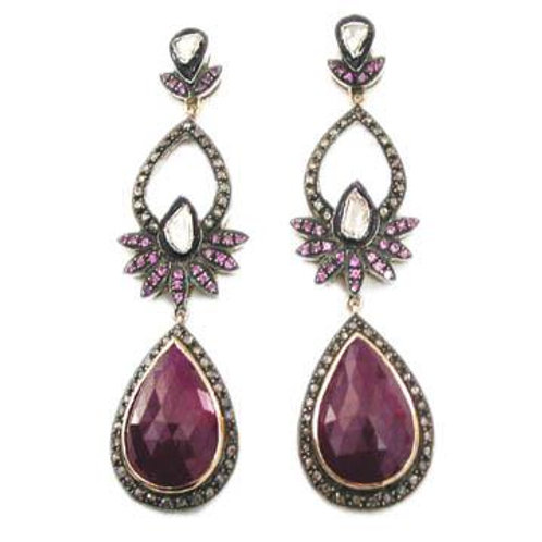 Natural Ruby and Sparkling Diamonds Handmade Floral Earrings in Silver