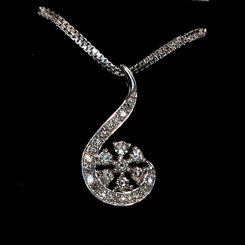 Diamond Drop design in 18k white gold pendant exclusively on sale