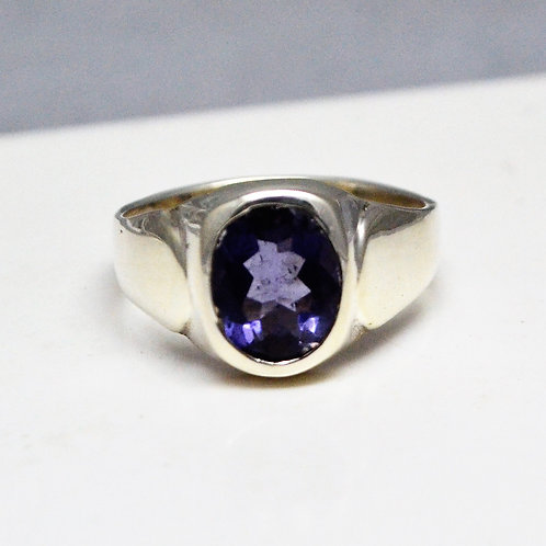 925 Sterling Silver with Good Quality Iolite Men's Ring