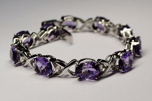Exclusive 925 Sterling Silver Good Quality Natural Amethyst Bracelet