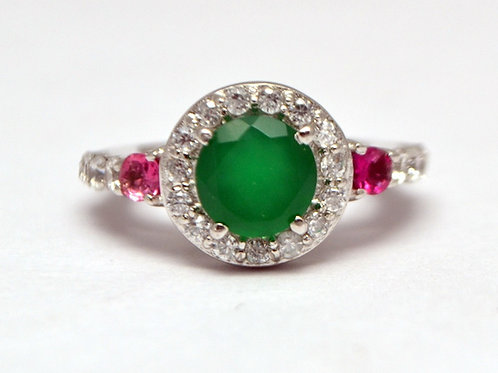 Beautiful Design in Green onyx with Natural Tourmaline pink color Band ring