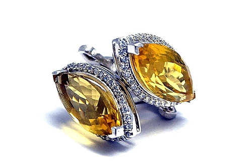 Marquise Designed Natural Citrine Studded Cufflink in Sterling Silver