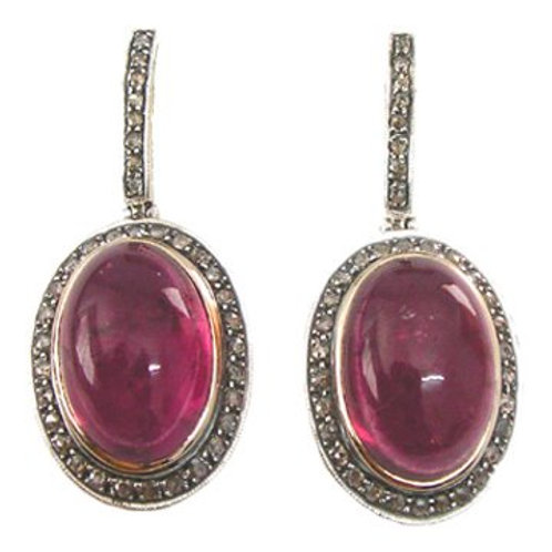 Natural Ruby & Sparkling Natural Diamonds Handmade Earrings in Silver